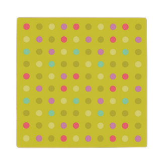 Polka-dot background pattern wood coaster