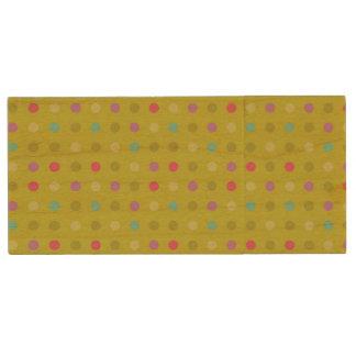 Polka-dot background pattern wood USB 2.0 flash drive