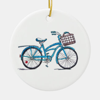Polka Dot Beach Crusier Ceramic Ornament