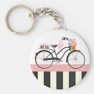 Polka Dot Bicycle Basic Round Button Key Ring