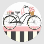 Polka Dot Bicycle Round Sticker
