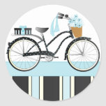 Polka Dot Bicycle Round Sticker