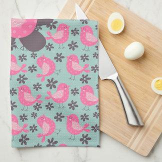 Polka Dot Birds and Flowers Tea Towel