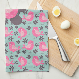 Polka Dot Birds and Flowers Towels