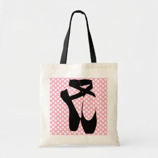 Polka Dot Black Ballet Slippers Tote Budget Tote Bag