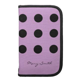 Polka Dot Black Custom Name Purple Organizers