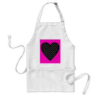 Polka Dot Black Heart with Hot Pink Background Adult Apron