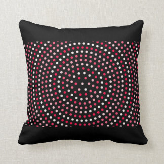 Polka Dot Black Red Pink White Throw Pillow Decor