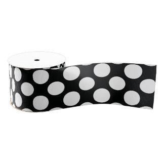 Polka Dot (Black & White) Any Size   Customizable Grosgrain Ribbon