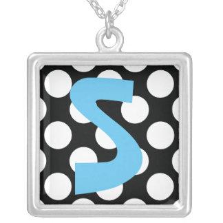Polka Dot (Black & White) Any Size Customizable Square Pendant Necklace