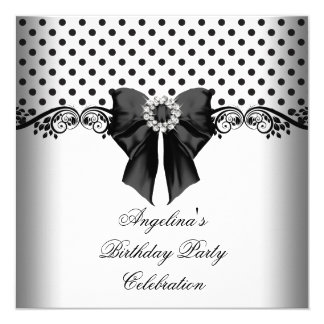 Polka Dot Black White Birthday Party Card