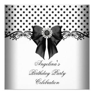 Polka Dot Black White Birthday Party 13 Cm X 13 Cm Square Invitation Card