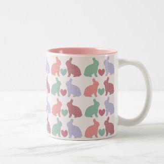 Polka Dot Bunnies Two-Tone Coffee Mug