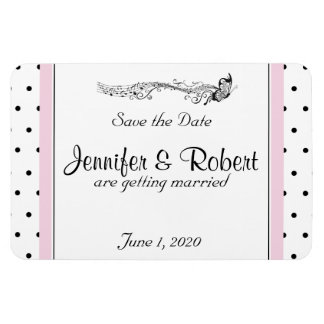 Polka Dot Butterfly Posh Wedding Save the Date Rectangular Photo Magnet