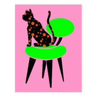Polka Dot Cat on Chair - Abstract Pop Art Postcard