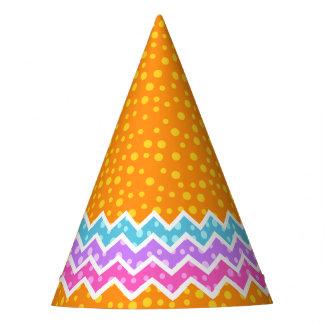 Polka Dot Chevron Orange Party Hat