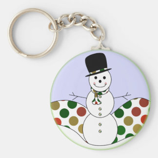 Polka Dot Christmas Snowman Basic Round Button Key Ring