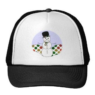 Polka Dot Christmas Snowman Cap