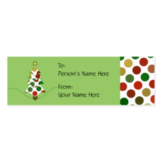 Polka Dot Christmas Tree Gift Tag Business Card Template