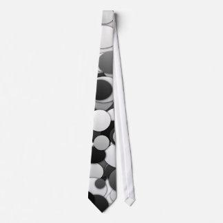 Polka dot circles tie - black & white