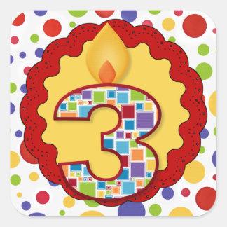 Polka Dot Circus Third Birthday Square Sticker