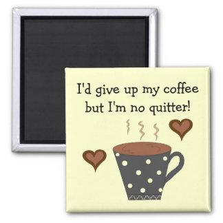 Polka Dot Coffee Mug with Coffee Saying Square Magnet