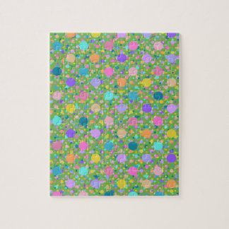 Polka dot colorful confetti craze jigsaw puzzle