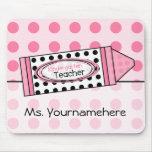 Polka Dot Crayon Kindergarten Teacher Mousepad