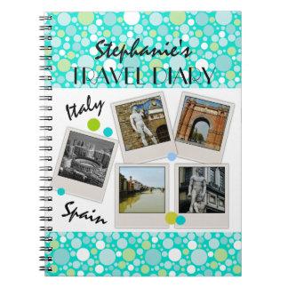 Polka Dot Crazy Custom Travel Diary and Photos Spiral Note Book