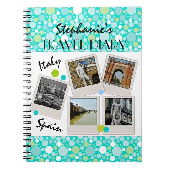 Polka Dot Crazy Custom Travel Diary and Photos Spiral Notebook