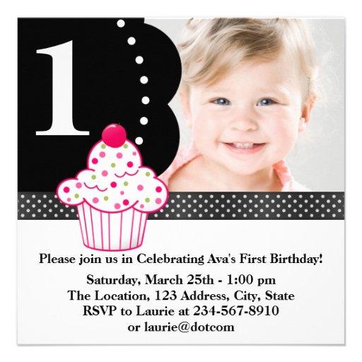 Polka Dot Cupcake Girls Photo 1st Birthday Party Personalized Invite