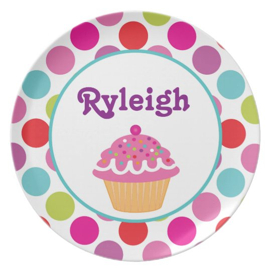 Polka Dot Cupcake - Personalised Melamine Plate