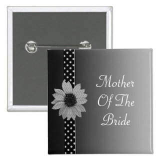 Polka Dot Daisy Grey & Black Wedding 15 Cm Square Badge