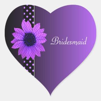 Polka Dot Daisy Purple Wedding Heart Stickers