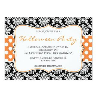 Polka Dot Damask Halloween Party Invitations