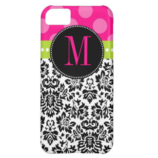 Polka Dot & Damask | Monogram iPhone 5C Case