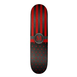 Polka Dot Deep Red and Black Stripes 21.3 Cm Mini Skateboard Deck