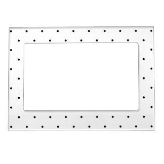 Polka Dot Design Black And White Customisable Photo Frame Magnets