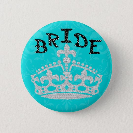 Polka Dot Diamond Princess Crown Bride Button