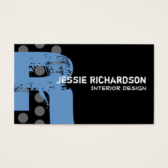 Polka Dot Distressed - Monogram R Business Card