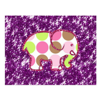 Polka Dot Elephant Sparkly Purple Girly Gifts Postcard