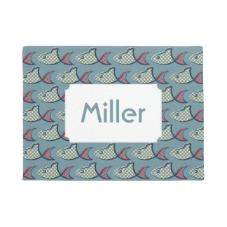 Polka Dot Fish Pattern | Add Your Name Doormat