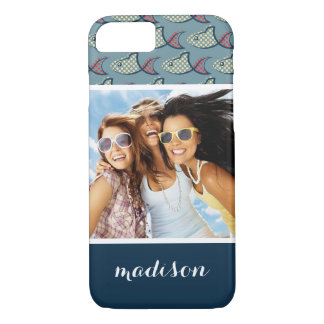 Polka Dot Fish Pattern | Your Photo & Name iPhone 8/7 Case