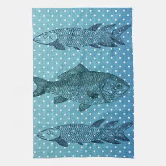 Polka Dot Fish Tea Towel