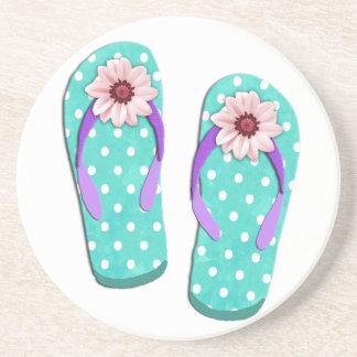 Polka Dot Flip Flops Coaster
