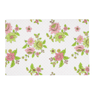 """Polka Dot Floral Pattern Placemats 12"""" x 18"""" Laminated Placemat"""