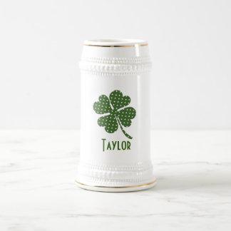 Polka dot Four Leaf Clover Customise Beer Stein