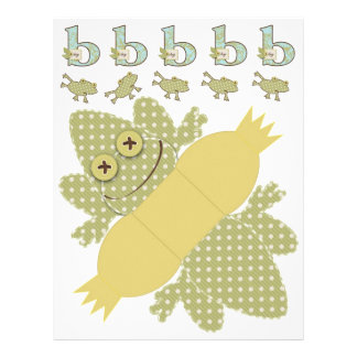 Polka Dot Frog & Stripe Print DIY Box Template Flyers