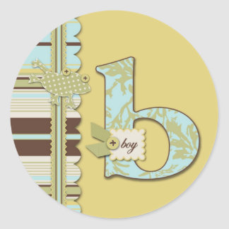 Polka Dot Frog & Stripe with B monogram Classic Round Sticker