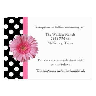 Polka Dot & Gerber Daisy Wedding Enclosure Card Business Cards